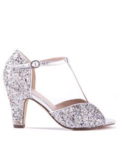 Quincy - Silver High Heel T-Bar Peep Toe - Side Profile