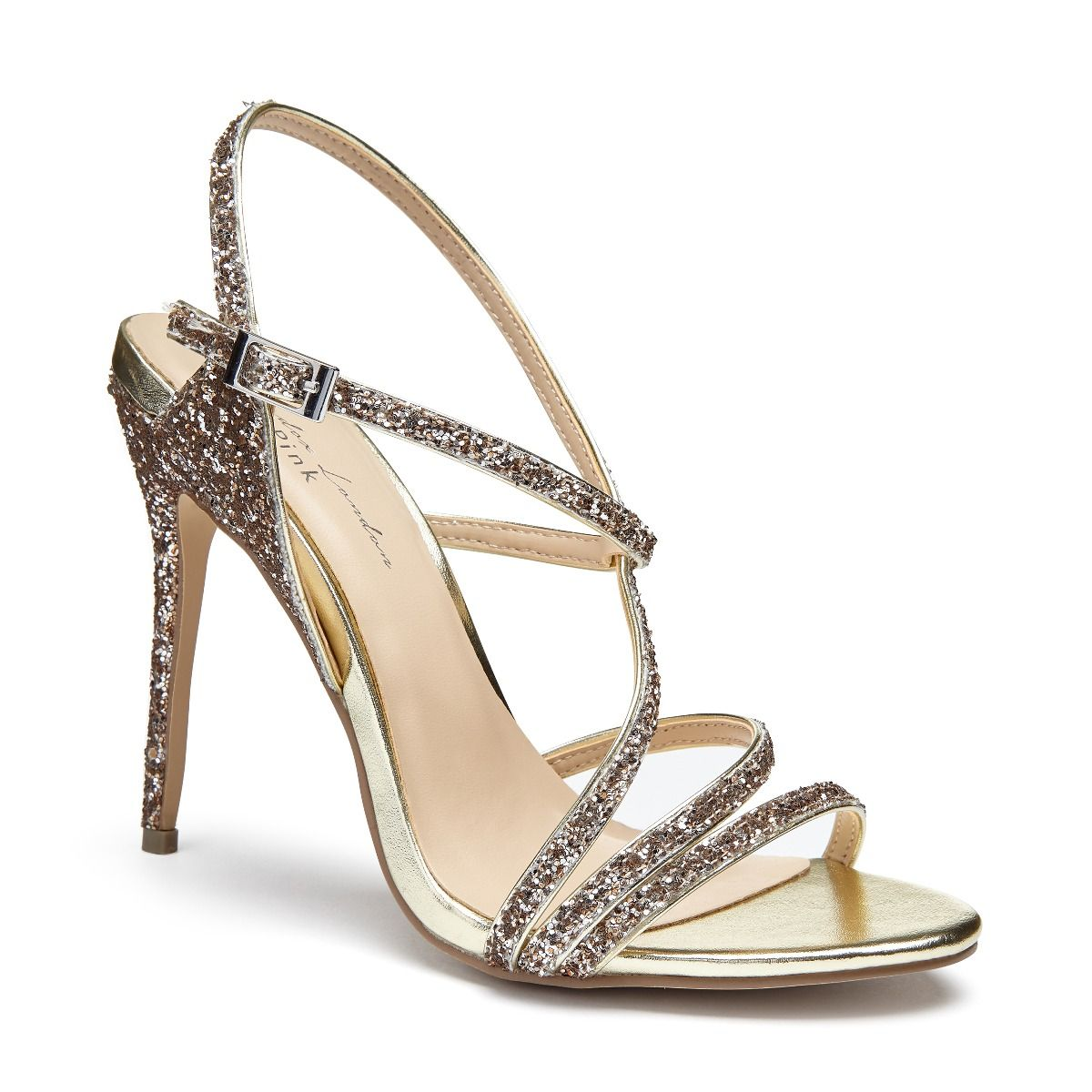 54ca5b74bf Saffie Champagne Glitter High Heel Strappy Sandal | Embellished Sandals |  Occasion Shoes | Paradox London