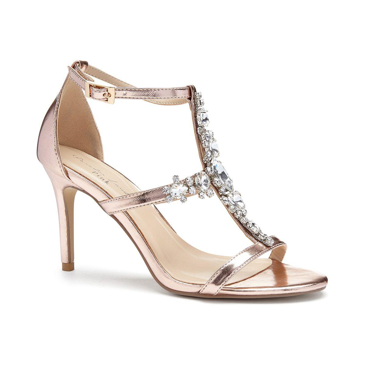 a62dc14e10b7 Stella Rose Gold Metallic High Heel Cross Strap Sandal